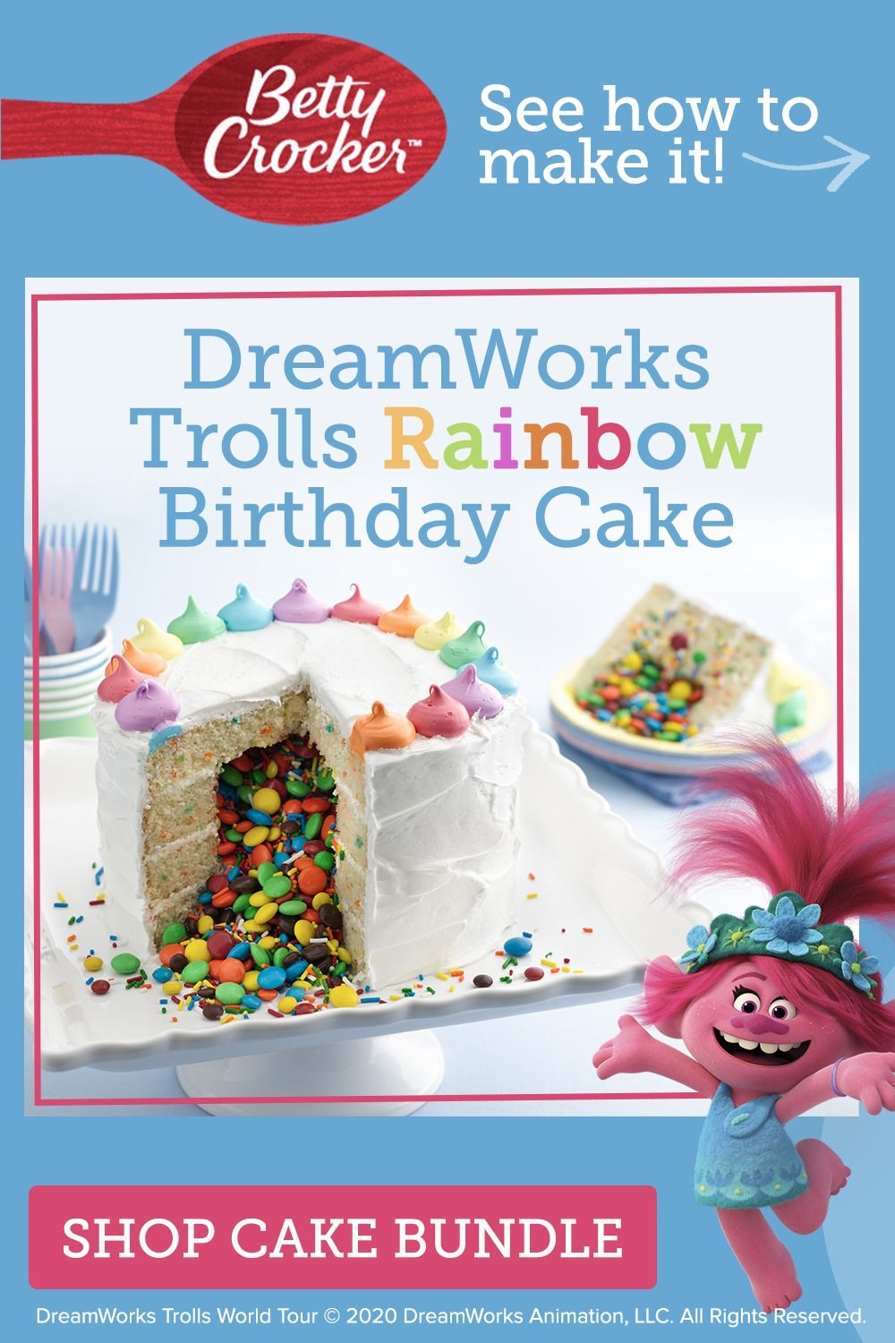 Miraculous Whip Up This Delicious Betty Crocker Rainbow Cake That Is Trolls Funny Birthday Cards Online Elaedamsfinfo