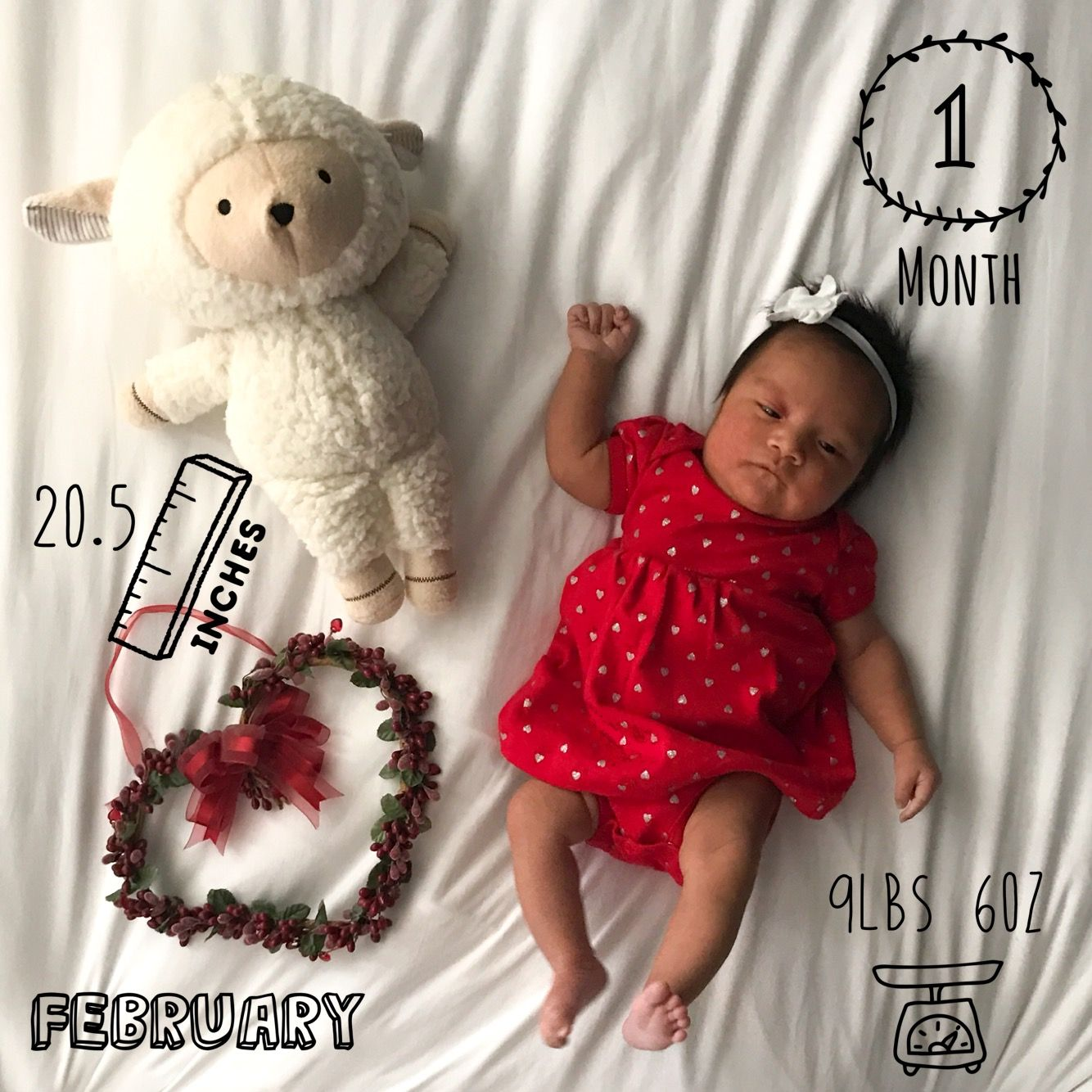 Monthly baby picture   Valentines baby   1 month