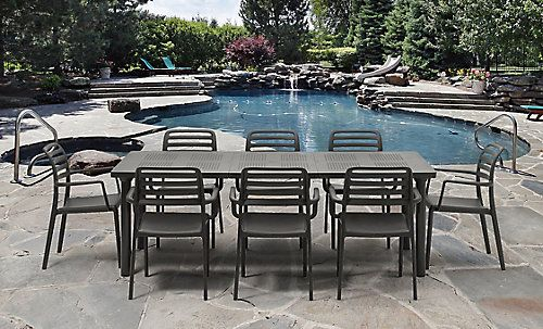 Nardi Libeccio Extendable Outdoor Dining Table With 8 Costa