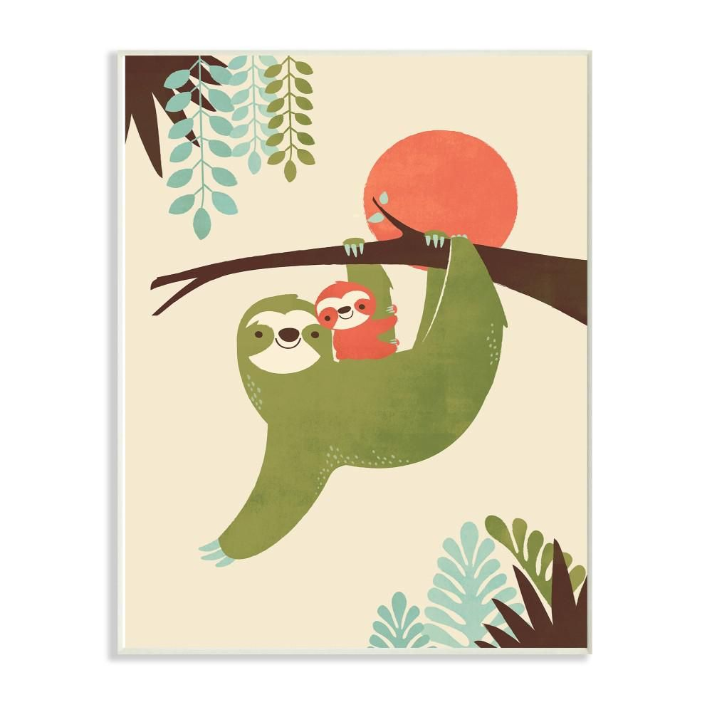 "The Kids Room by Stupell 12.5 in. x 18.5 in. ""Sloth Family Minimal Illustration Green Blue Brown and Red"" by Jay Fleck Wood Wall Art-brp-2322_wd_13x19 - The Home Depot"