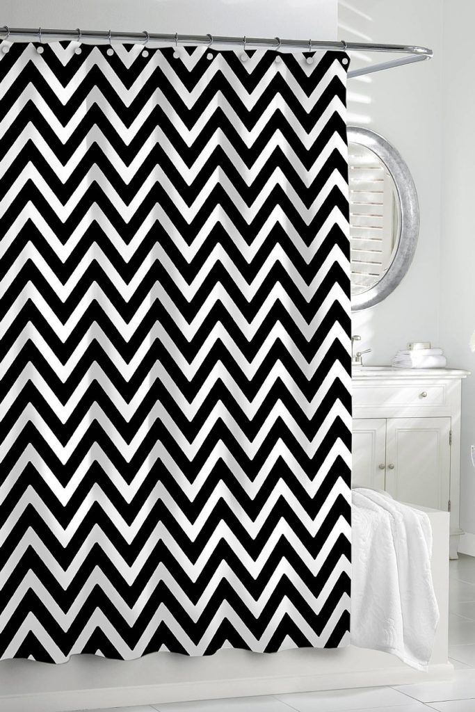 Red And Black Chevron Shower Curtain