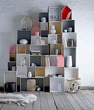 etag re carr e en bois set de 6 int rieur gris bloomingville. Black Bedroom Furniture Sets. Home Design Ideas