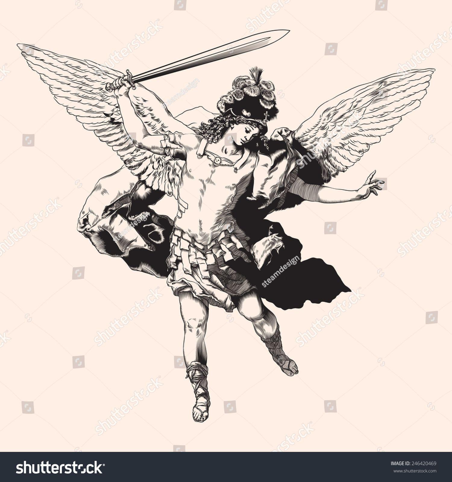 Archangel Michael Vector Illustration Stock Vector