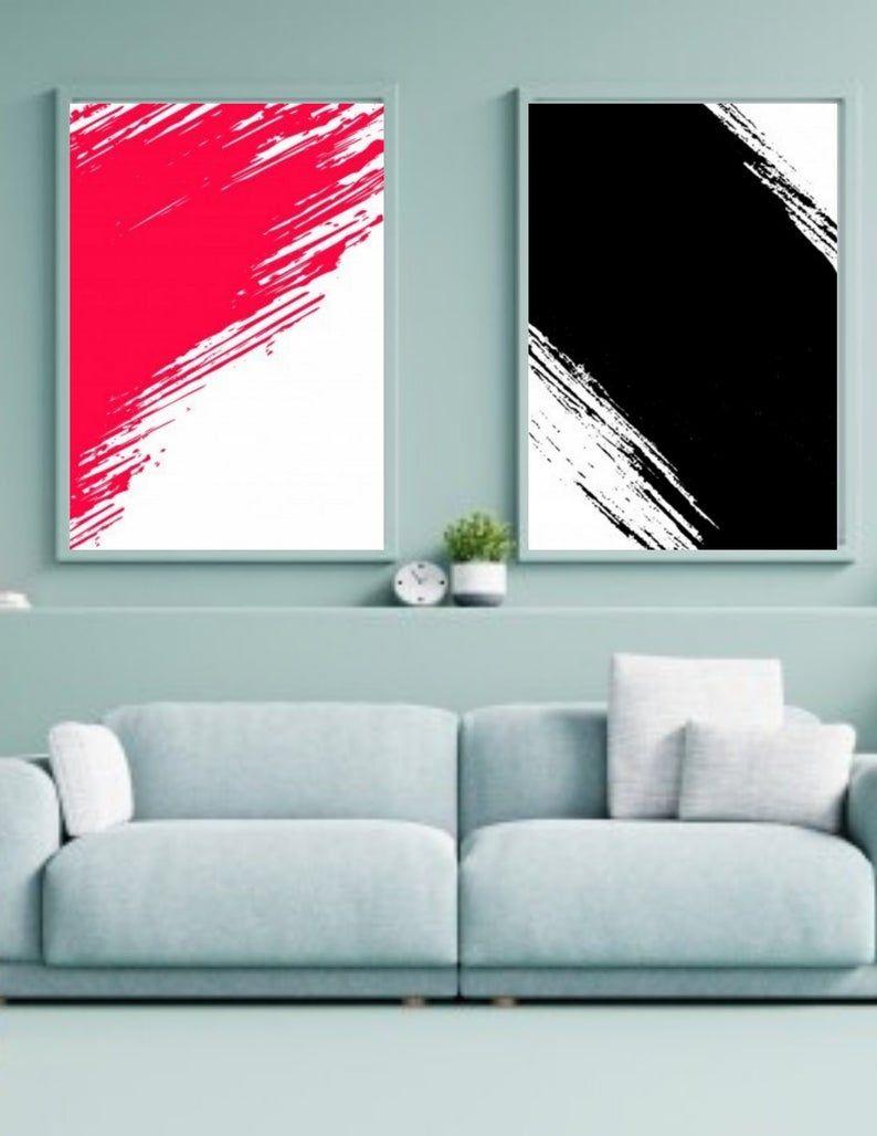 2 Set Black And Hot Pink Abstract Digital Print Wall Art Etsy In 2020 Hot Pink Abstract Etsy Wall Art Wall Art Prints