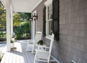Cedar Shake Siding Gray House Black Shutters White