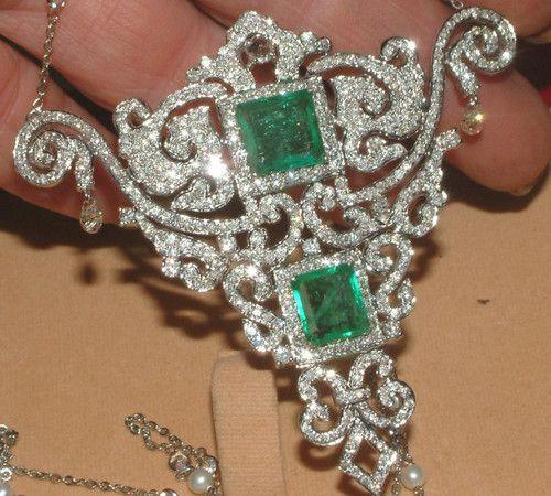 18 carat White Gold 6 carat Diamond Double Square Emerald Pendant