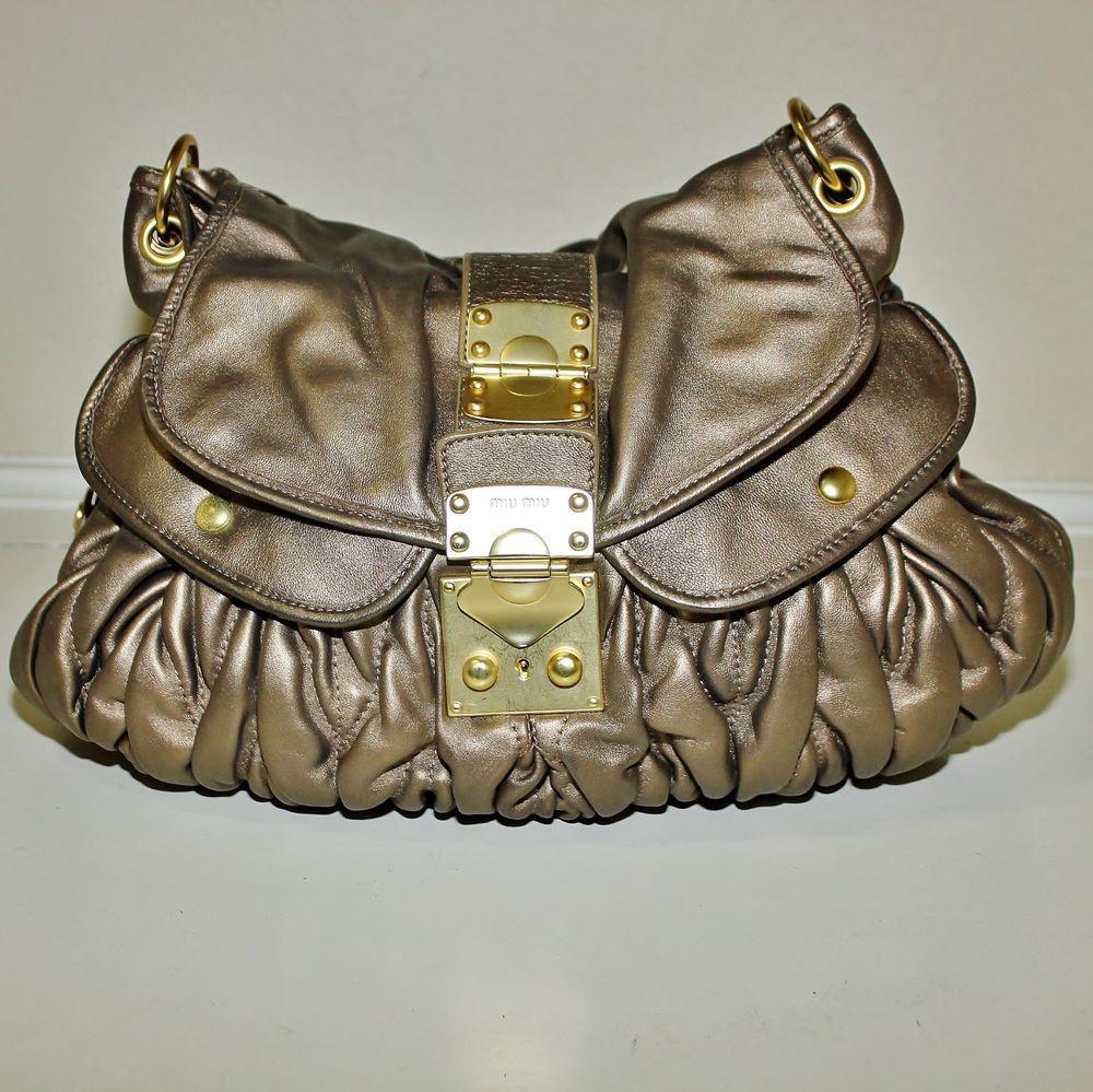 927a17dd0b9d Authentic MIU MIU Coffer Matelasse Bronze Lg Leather Handbag