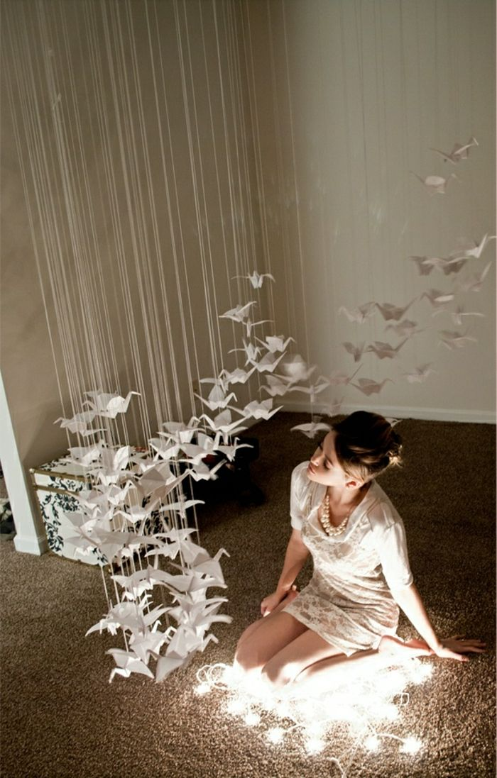 40 beispiele f r origami kranich dekoration churros for Origami zimmer deko