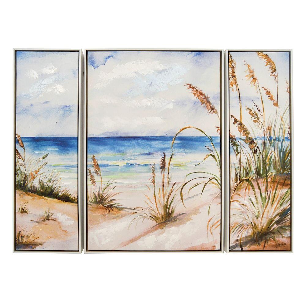 New View Beach Scene Canvas Wall Art 3 Piece Set Canvas Art