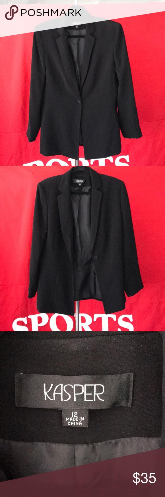 Kasper Black Suit Jacket Blazer Sz 12 Black Suit Jacket Black Suits Blazer Jacket [ 1740 x 580 Pixel ]