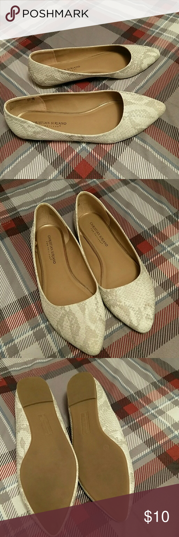 Christian Siriano Flats 8 1/2 8.5 Snakeskin look flats, wore twice. Great condition. Straight out of my closet. Christian Siriano Shoes Flats & Loafers