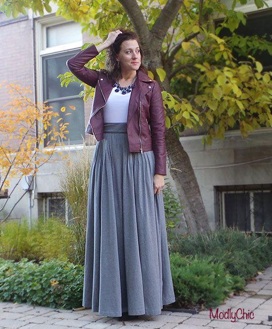 oxblood vegan leather jacket, long gray maxi skirt, blue jeweled ...