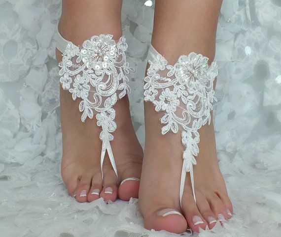 857a31874b823 Beach Wedding Barefoot Sandals ivory lace beach shoes Bridesmaids Gift  Bridal Jewelry Wedding Shoes