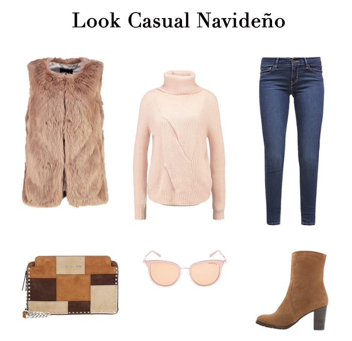 BLOG DE MODA Y LIFESTYLE: LOOKS NAVIDAD SHOPPING. Nude knit sweater+skinny jeans+camel boots+brown fur+camel and brown printed clutch+sunglasses. Christmas Casual Outfit 2016-17