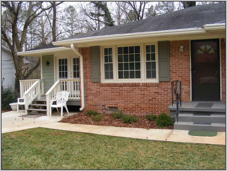 Captivating Exterior Paint Colors For Red Brick Homes White Patio Chairs  Gray Stairs White Windows Frames White Railing StairsBrick ranch colors  the siding is Ben Moore s Louisburg Green The  . Exterior Paint Ideas For Red Brick Houses. Home Design Ideas