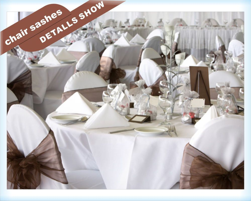 100PCS Chocolate Organza Chair Sashes bow Wedding banquet decor Free ...