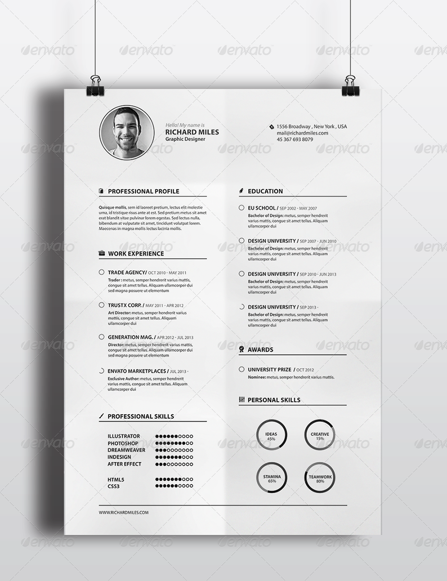 Clean Resume++ | Graphic | Pinterest | Fonts and Template
