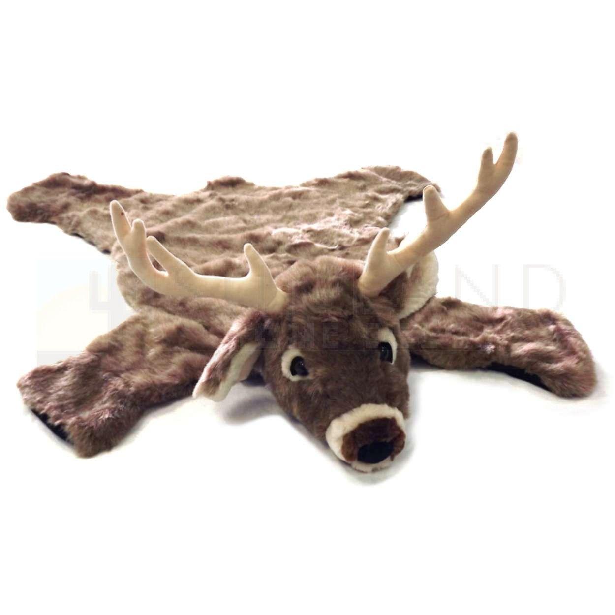36in White Tail Deer Plush Faux Animal Skin Rug