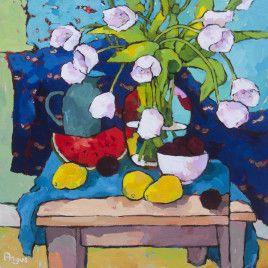 Tulips and Papaya with Blue – Angus Wilson
