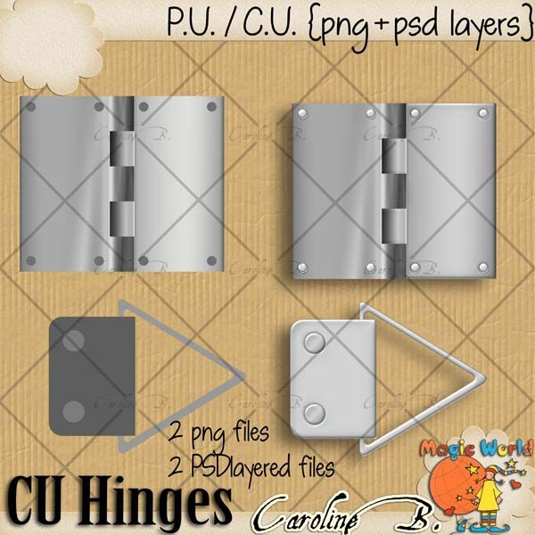"#Caroline B. - CU Hinges Templates This product incudes :  - 2 PNG files  - 2 PSD layered template, 300dpi, you can apply Photoshop styles, papers, easily change colors, etc...   - My CU Term Of Use (TOU).    This is NOT a CU4CU item.    Choose your licence : ""With Credit Required"" (Regular Commercial Use) or ""With No Credit Required"" (Additional $). http://www.carolineb-design.com/index.php?main_page=product_info&products_id=837"