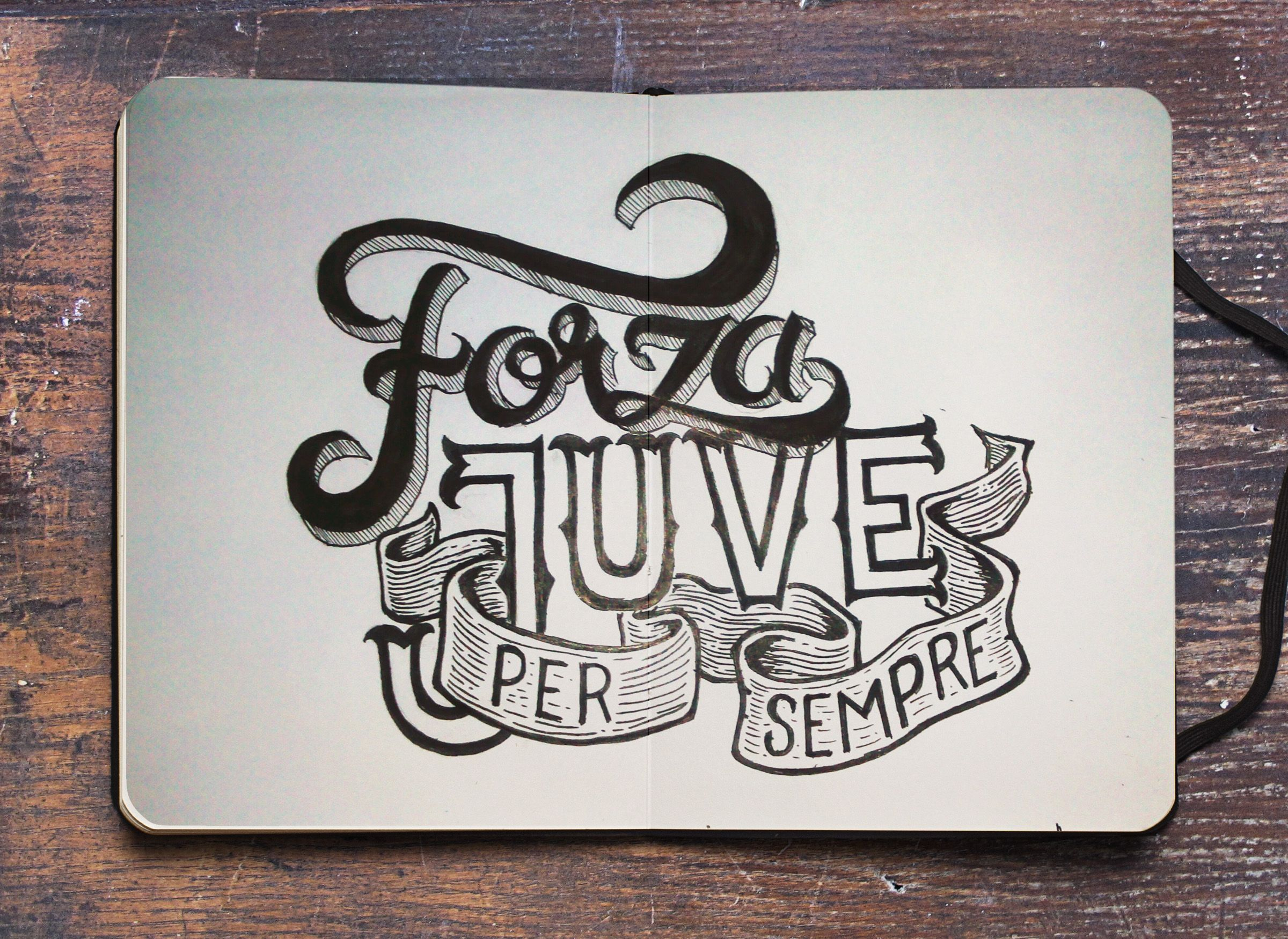 Dedicated for my favorite football team, JUVENTUS #ForzaJuve #Lettering #HandLettering #Type #Typography #Drawing #Pencil #Paper
