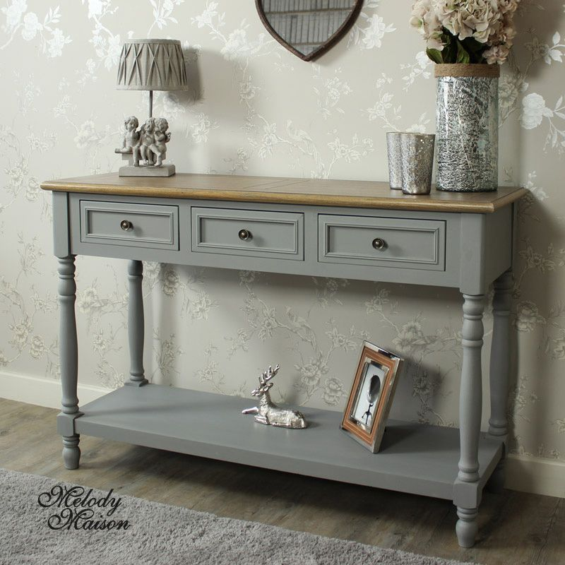 Admiral Range   Three Drawer Sideboard/Console Table A Large Console Table/sideboard  With 3 Drawers For Storage And Shelf Below In A Grey Painted Finish ...