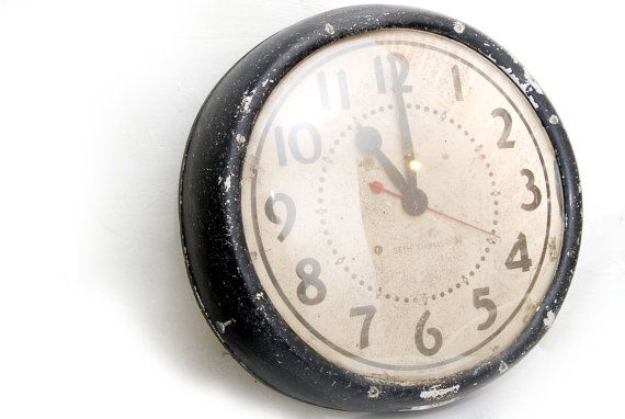 Huge Seth Thomas Wall Clock with Concave Glass by VintageLancaster, $99.00