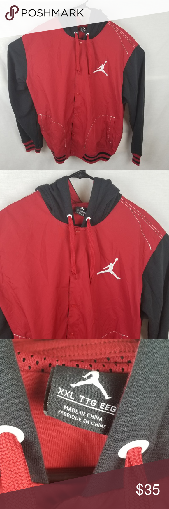 921375885220f3 NIke Air Jordan Retro Red Black Button Down Jacket Gently used XXl Red Black  Jordan Button Down Hooded Jacket . No flaws rips or holes and zipper works  ...