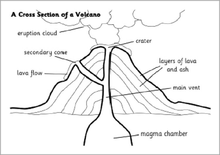 Diagram Volcano Coloring Pages | Volcano science projects ...