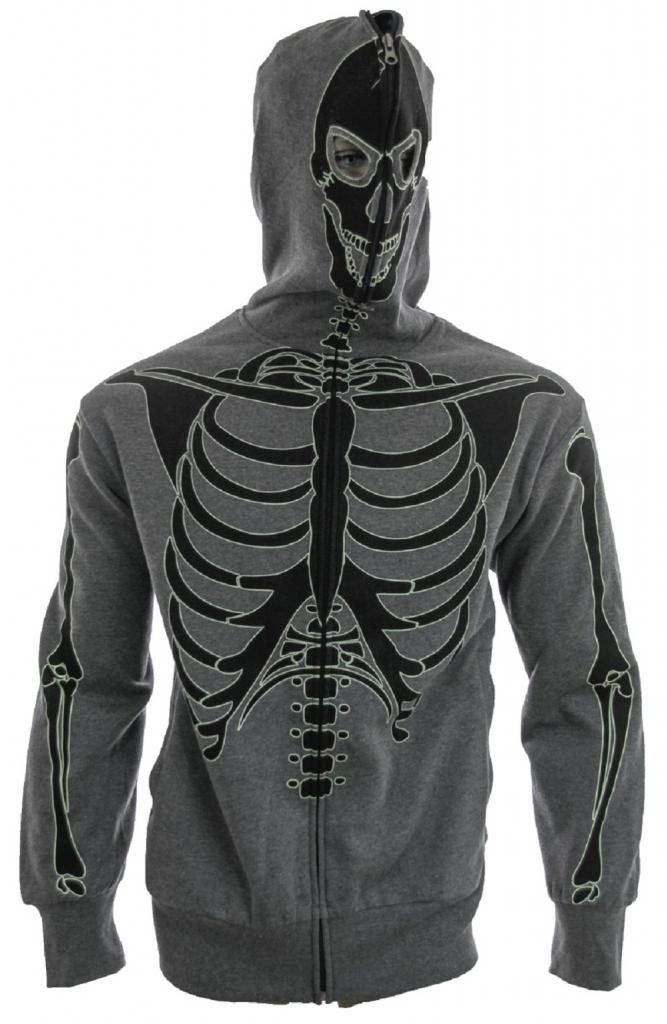 FullZip Up Glow in the Dark Charcoal Skeleton