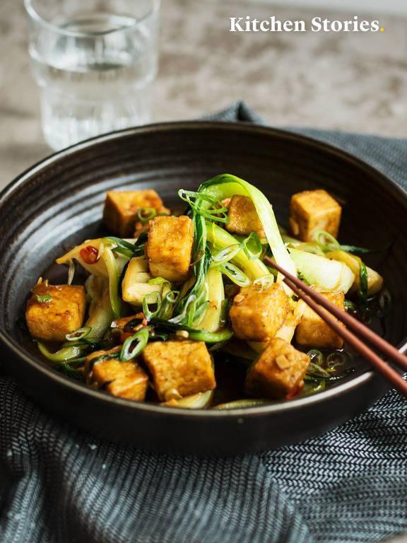 Photo of Fried pak choi with crispy tofu | Vegan | Quick and easy