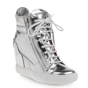 cc01bab36295 by Giuseppe Zanotti. High-top sneakers in silver mirror-effect calfskin  with inserts in sand calfskin