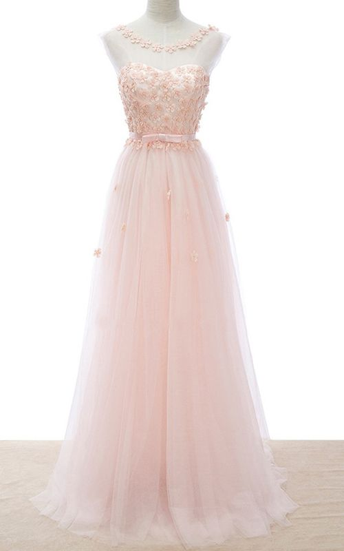Pink A Line Scoop Neck Tulle Floor Length Sashes Ribbons Long Prom Dress