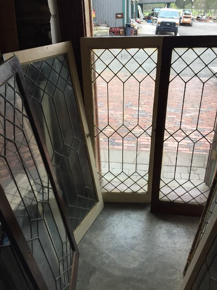 Five Available Price Separately Antique Leaded Glass Cabinet Doors