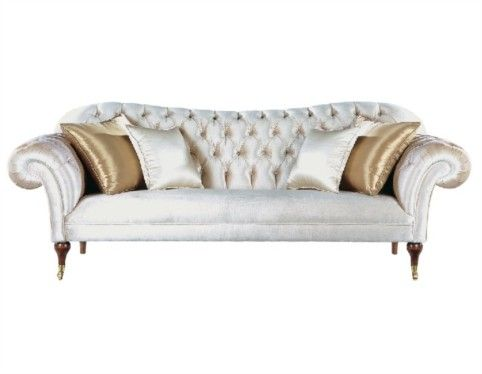 Luxury Champagne Tufted Button Back Sofa