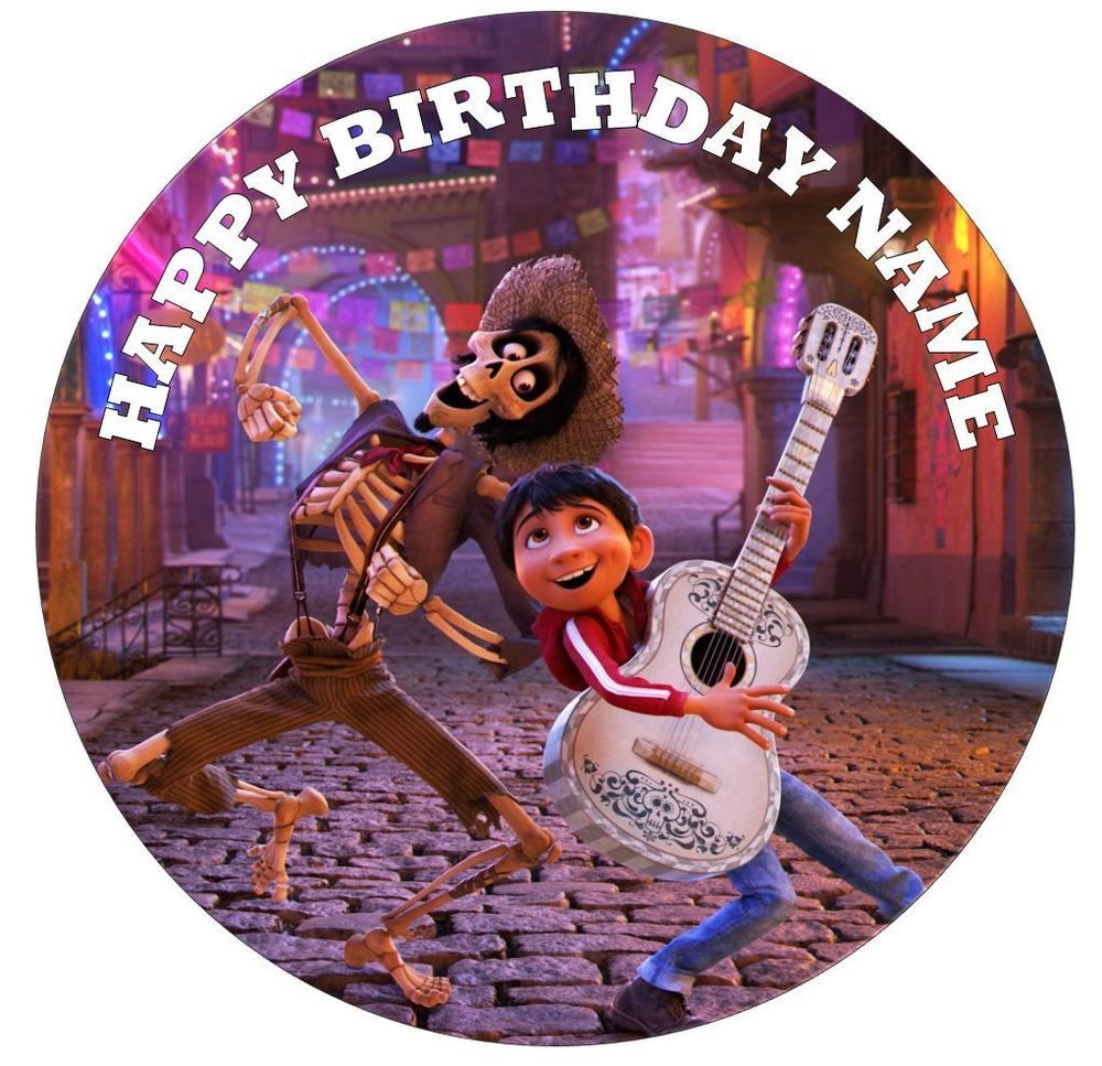 "DISNEY COCO PERSONALISED EDIBLE ICING CAKE TOPPER 6/"" OR 7.5/"" ROUND"