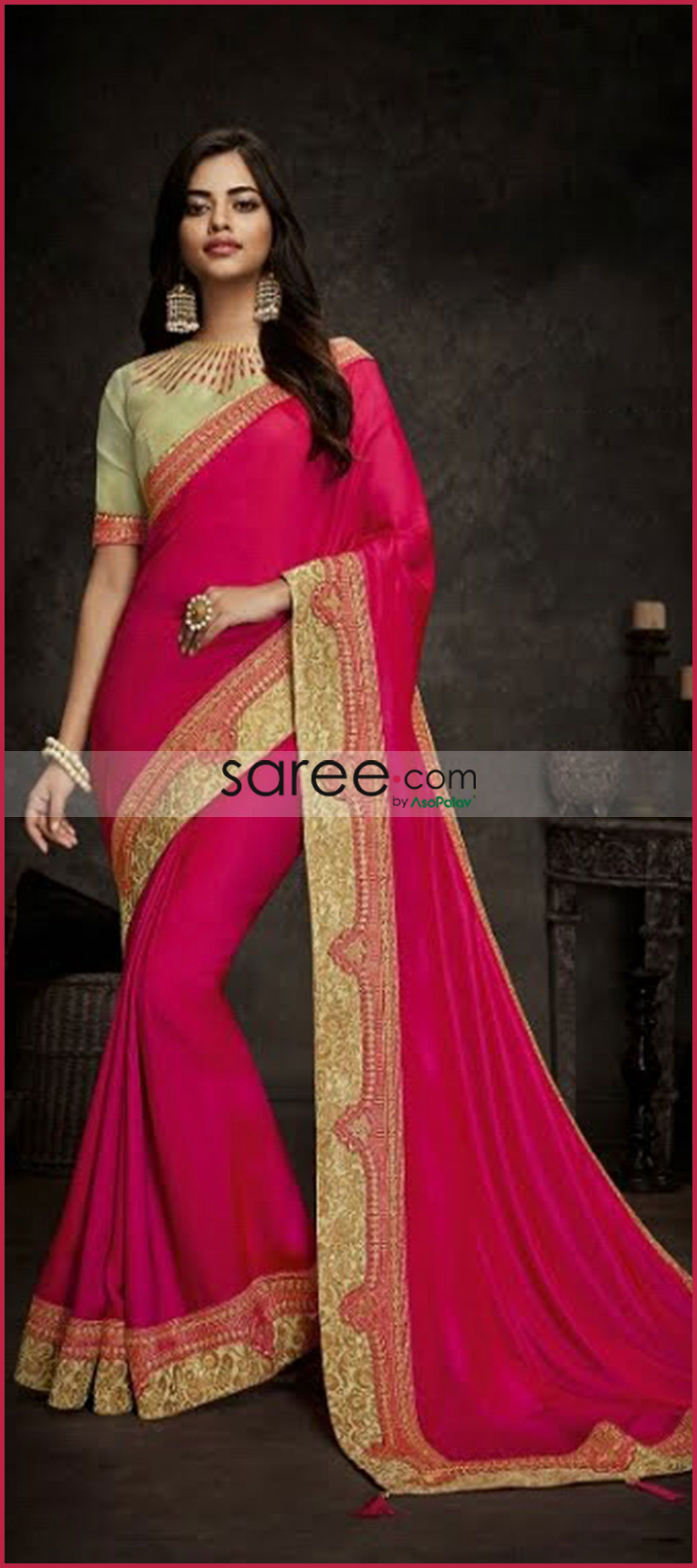 30772c56b7c60 Dark Pink Satin Silk Plain Saree with Designer Blouse   Indian ...