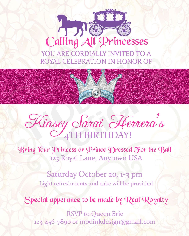 Princess Party Invitation Printable. $15.00, via Etsy.   Party Stuff ...