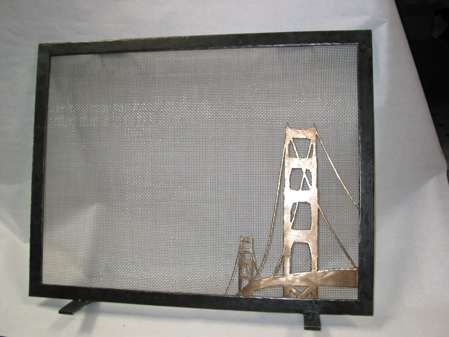 Forged Steel And Bronze Fire Screen By Jmm With The Golden Gate Bridge In Bronze Metal Working Forged Steel Forging Metal