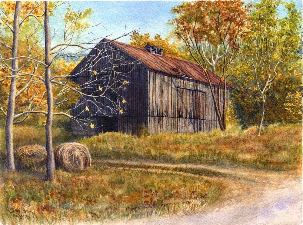 grange paysage peinture impression aquarelle par cathy hillegas 11 x 14 aquarelle paysage. Black Bedroom Furniture Sets. Home Design Ideas