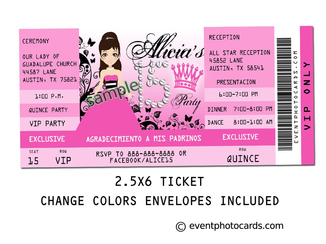 17 Best images about Quinceanera Invitations Styles – Vip Ticket Invitations