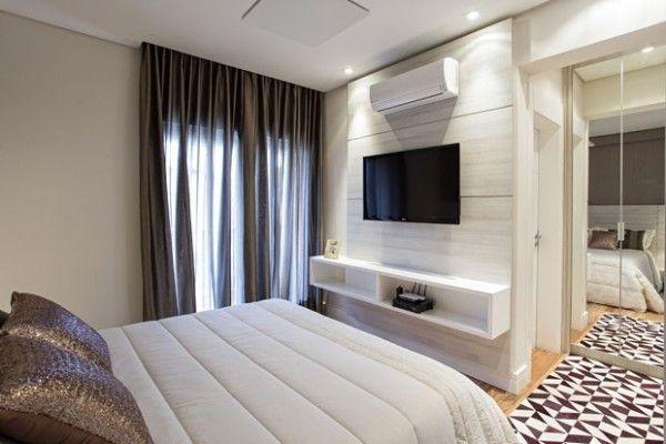 Sala De Tv No Quarto ~ móvel na frente da cama tv panel a tv tv decor theater home flowers