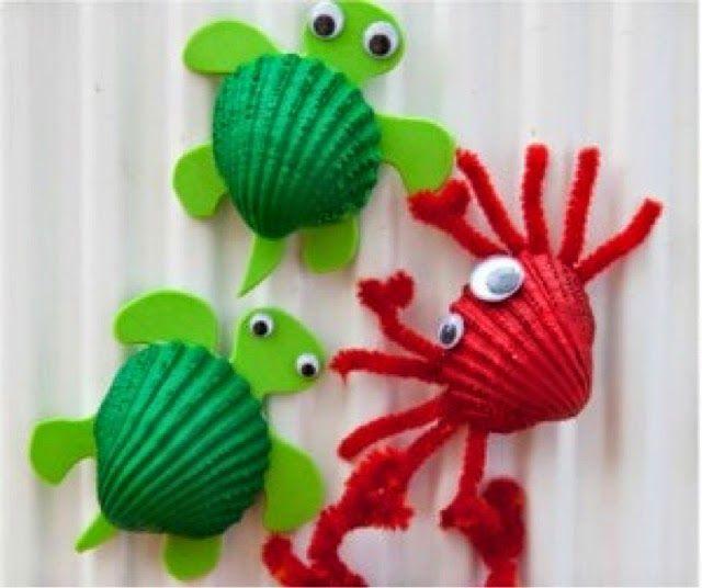 Manualidades con conchas de mar corazones de colores - Manualidades con conchas ...