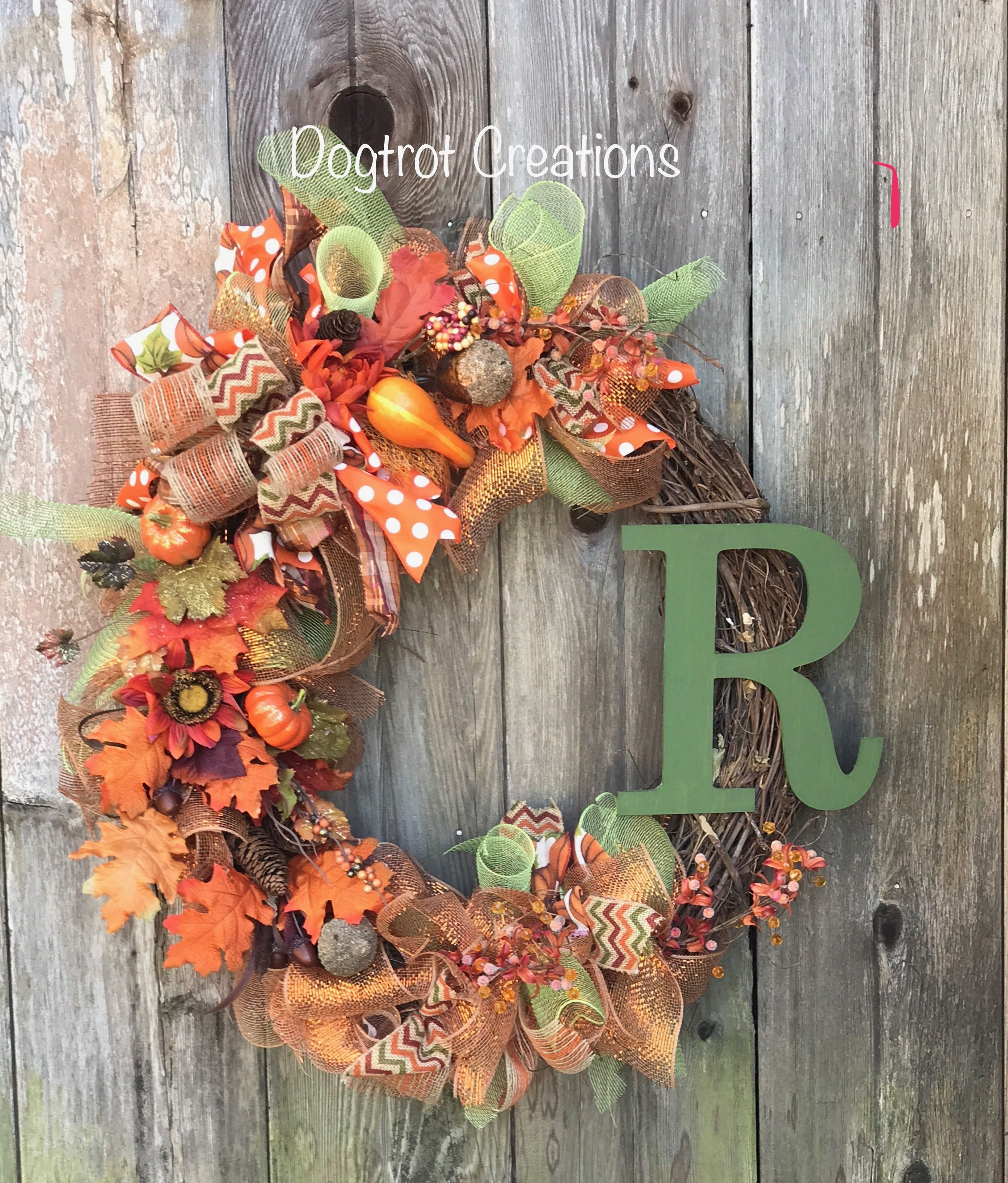 Large Fall G Vine Wreath With Initial Deco Mesh