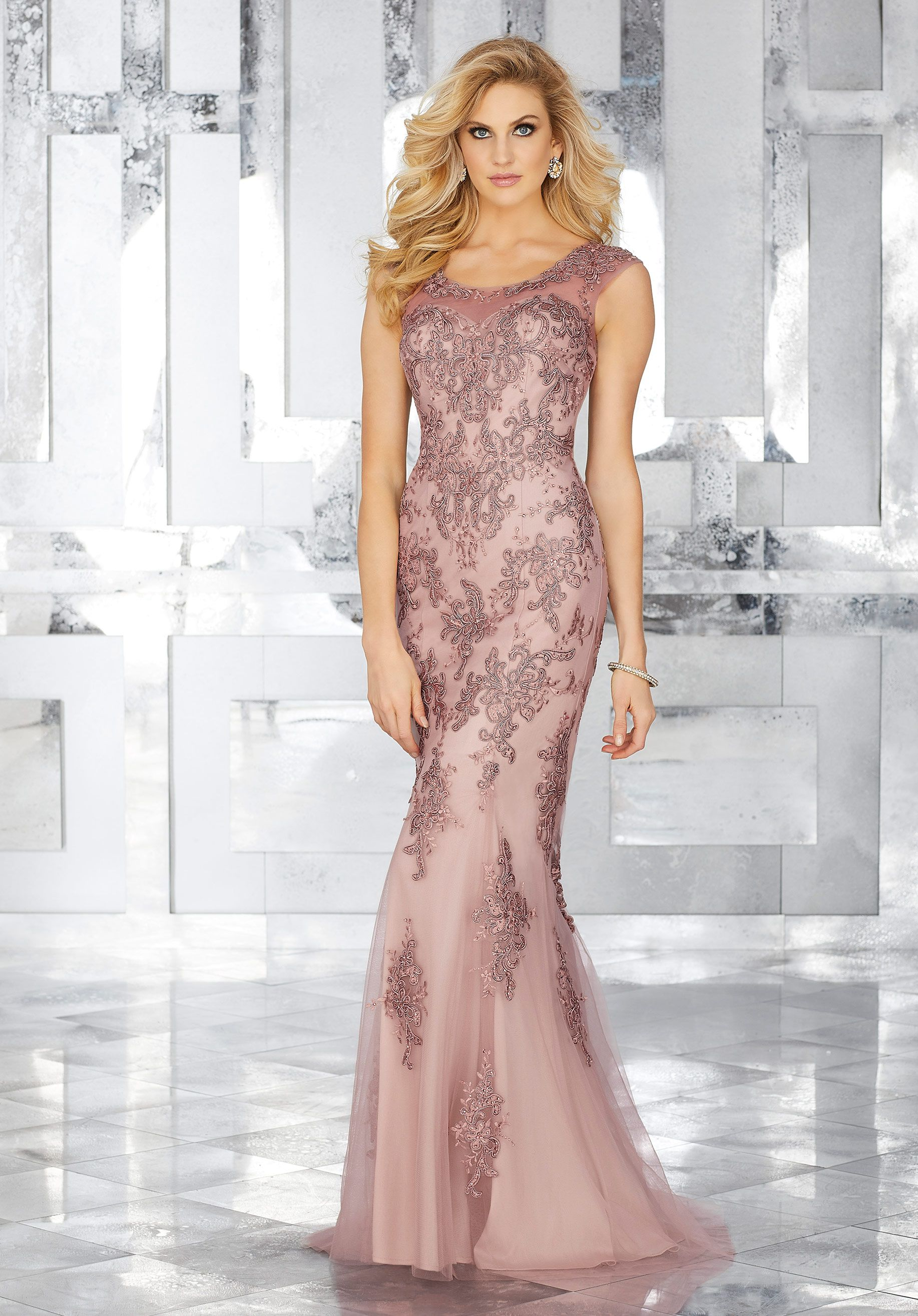 Form Fitting Special Occasion Gown Featuring Embroidered Lace ...
