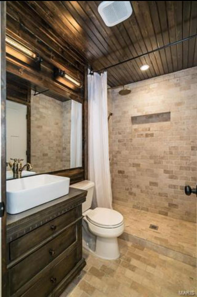 Dark Stained Wood T G Cabinets Ceiling Stone Wall Bathrooms