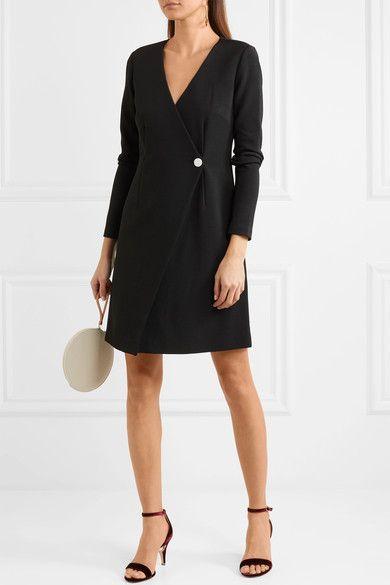 Essentials Wrap-effect Stretch-knit Dress - Black Diane Von F nTj02