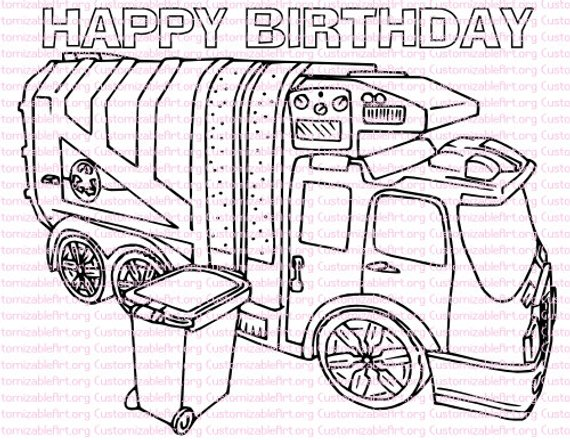 Garbage Truck Birthday Party Printables Garbage Truck Coloring Page Birthday Party Favors Rubbish Tr Truck Coloring Pages Garbage Truck Trucks Birthday Party