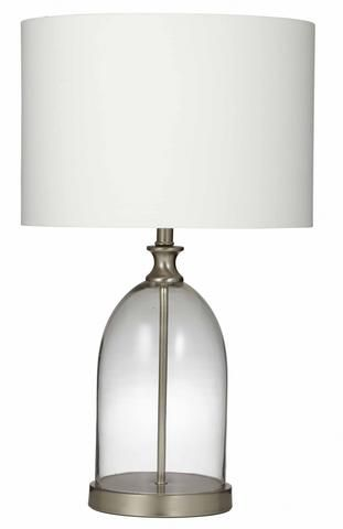 Marlo table lamp clear glass base with ivory shade high coastal hamptons in home garden lighting fans lamps