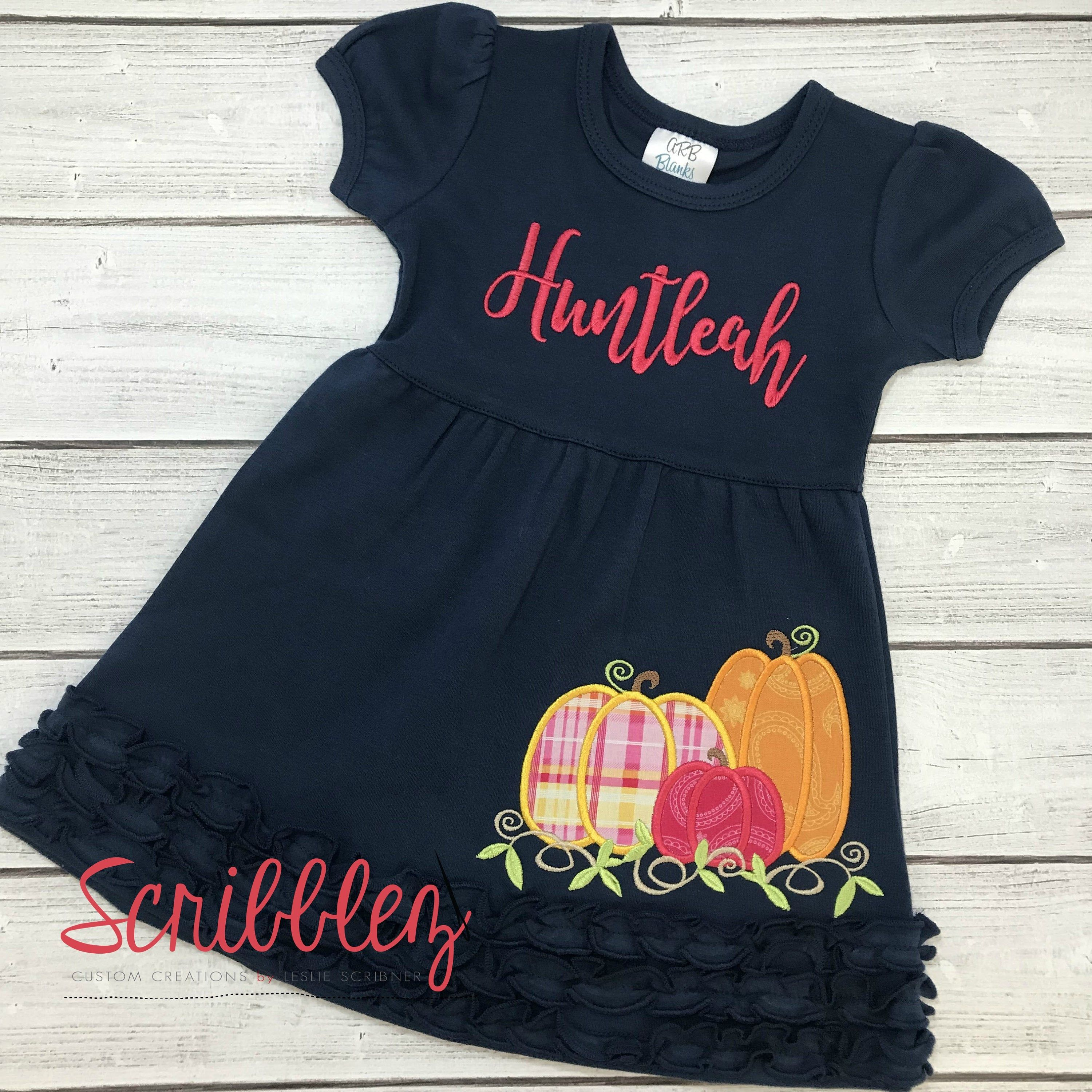 Thanksgiving Pumpkin Patch Dress - Short Sleeve Girl Thanksgiving Outfit - Toddler Thanksgiving Dress #thanksgivingoutfit